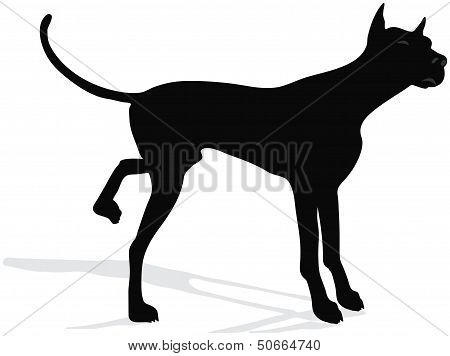 Stock Vector Of Dog Silhouette Standing In Front Of Camera Over White Background