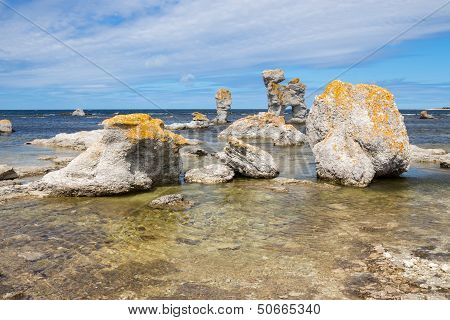 """Limestone formations locally known as """"raukar"""" on F???r??? island in Gotland Sweden. poster"""