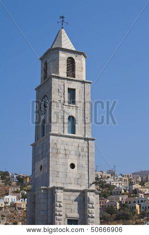 Clock Tower In Simi, Greece