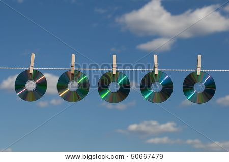 Five Cds On A Clotheslines