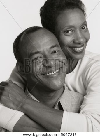 Black And White Portrait Of African American Husband Wife