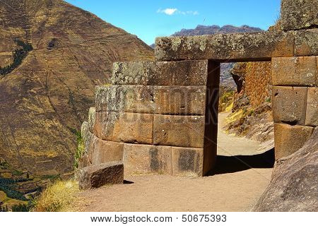 Doorway at Pisac ruins, Cuzco, Peru