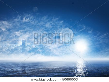 Beautiful landscape of fantasy world with foggy ocean ghostly lighthouse sun planets and stars on the deep blue sky poster