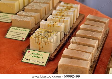 Bars of soap handmade natural products for skin care poster