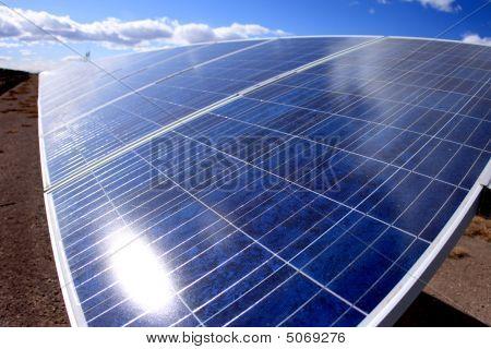 Solar Panel With Sun Reflection