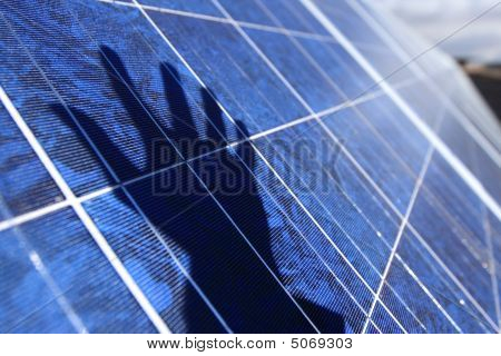 Solar Panel With Hand Shadow