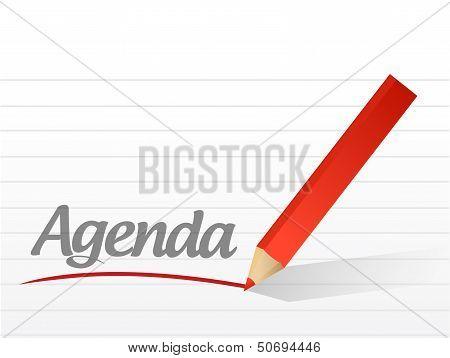 Agenda Written On A White Paper. Illustration