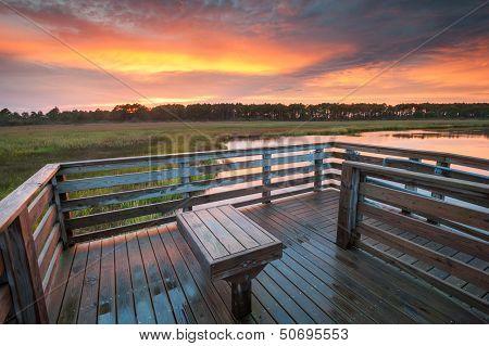 Bodie Island Lighthouse Observation Platform Sunset