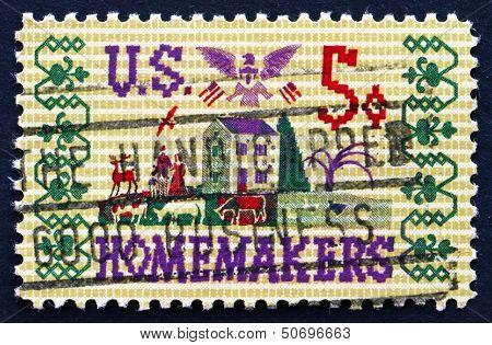 Postage Stamp Usa 1964 Farm Scene Sampler