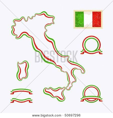 Outline map of Italy. Border is marked with a ribbon in the national colors. The package contains a stamp with flag and frames. The file is made with no transparencies and gradients.