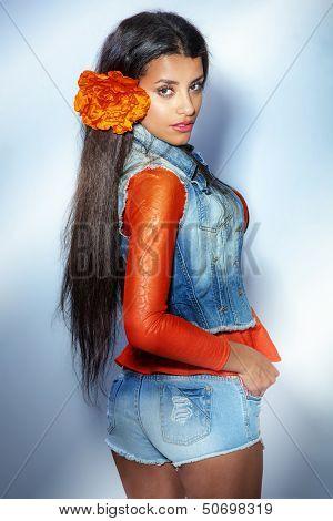 Attractive Multiethnic Girl Posing.