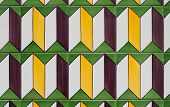 Closeup detail of traditional Portuguese glazed tiles. poster