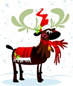 Happy smiling Santa Claus reindeer cartoon character in suit while snowing poster