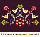 Polish traditional embroidery pattern with hens and flowers poster