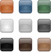 Set of web square glossy buttons with damaged surface poster