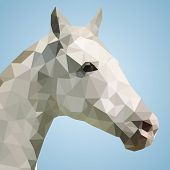 Head of a white horse in triangular style - Vector Illustration. poster