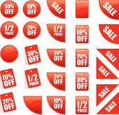 a set of vector sale and reduced signs poster