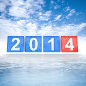 Frozen blue and red shining cubes with new 2014 year number on ice poster