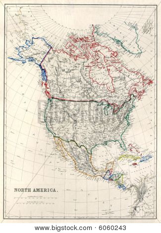 "Vintage, original map of North America, Alaska as ""Russian Territory"", printed in 1850. poster"