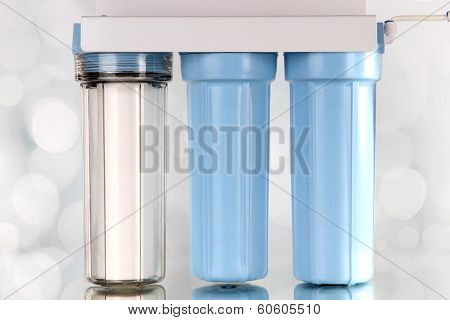 Filter system for water treatment on bright background