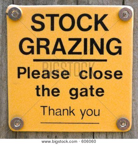Stock Grazing Sign