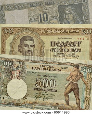 Old Serbian paper money