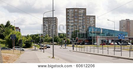 Vilnius Today. New And Old Buildings At Fabijoniskes