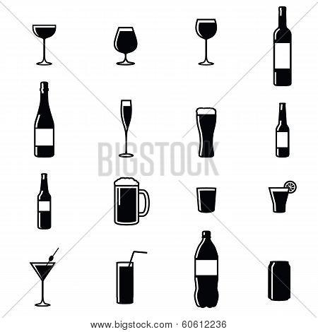 Set Of Sixteen Drinks Illustrations