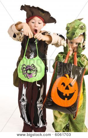 Adorable Kids Playing Trick Or Treat