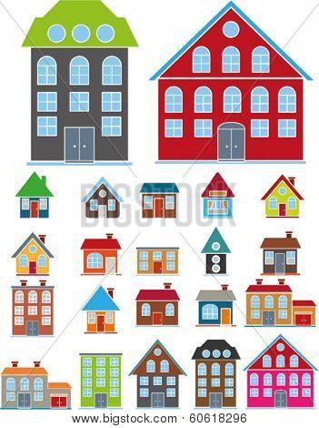 cartoon, cute, family houses set, vector
