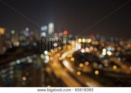 Ampang Kuala Lumpur City Skyline At Night Blurred Background