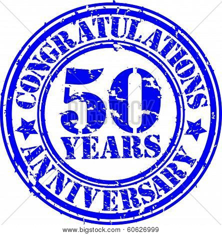 Cogratulations 50 Years Anniversary Grunge Rubber Stamp, Vector Illustration