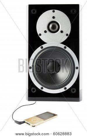 Black Sound Speaker And Mp4 Player