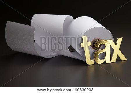 tax alphabet on the adding machine tape