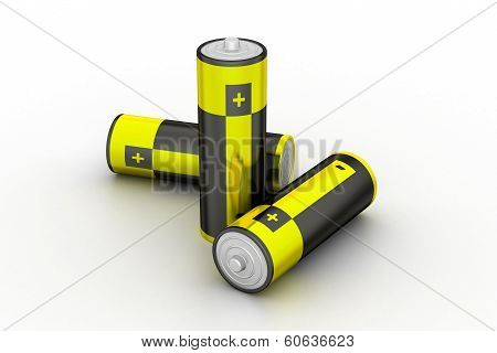 3d rendering batteries in white color background poster