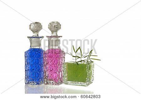 Pink Blue Green Glass Flagons