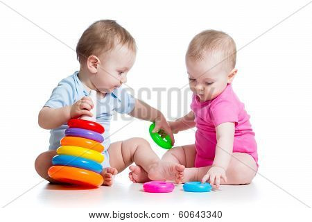 Kids Boy And Girl Playing Toys Together