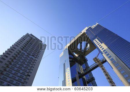 Blue Sky  And  Umeda Sky Building In Osaka Japan