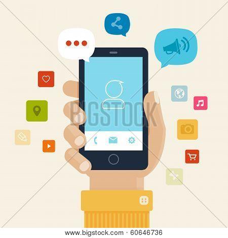 Smartphone apps flat icon design