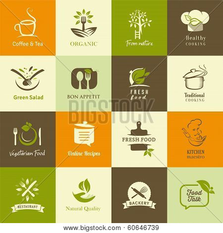 Set of icons for organic and vegetarian food for web and mobile. poster