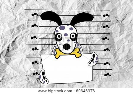 an images of cute Dog on crumpled paper poster