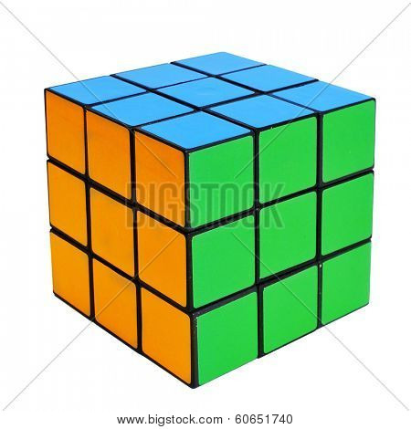 TARRAGONA, SPAIN - FEBRUARY 3, 2014: Rubiks cube on a white background. This famous cube puzzle was invented by the architect Erno Rubik in 1974