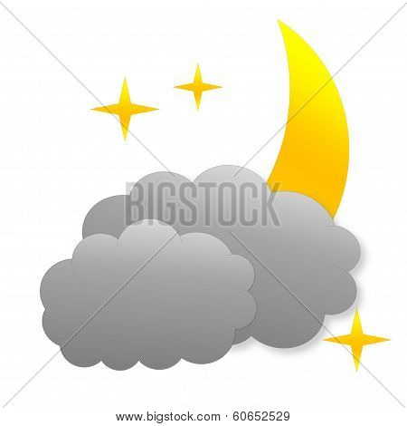 Cloudy night as weather icon