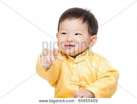 Chinese baby boy finger point front