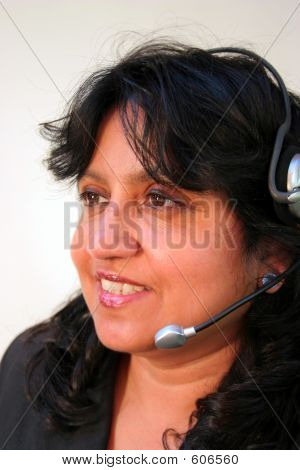 Indian Female Wearing Headset