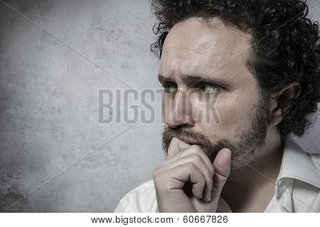 Confidence, decisionmaking, man in white shirt with funny expressions