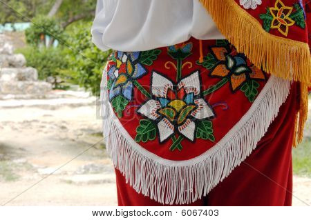 Detail of the Mexican colored costumes