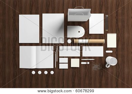 Blank Stationery Set On Wooden Background