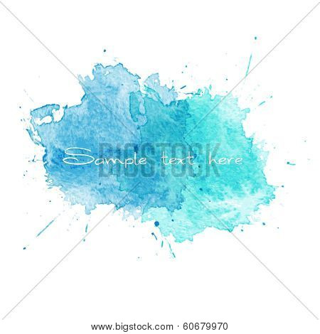 Blue Watercolor splatters. Vector