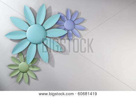 Trio Of Pastel Spring Flowers Over White Background